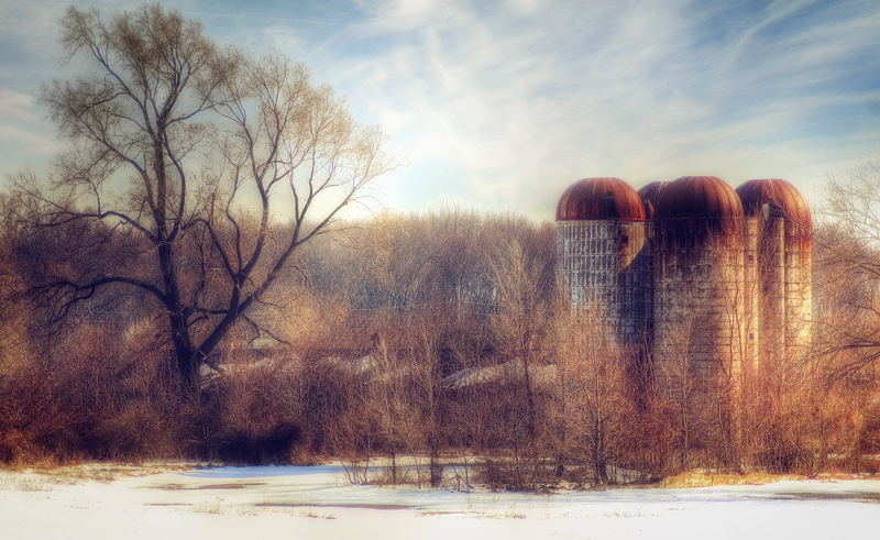 Silos On A Winter Afternoon